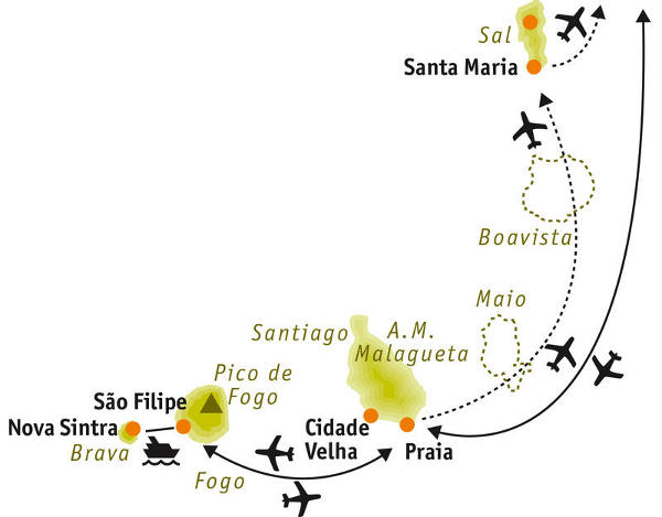 : Karte und Tourenverlauf Wandern auf den Kapverden – die Südinseln
