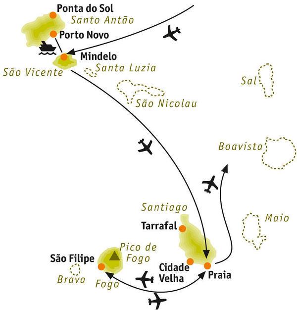 São Tomé e Príncipe: Karte und Tourenverlauf Wanderreise – tropische Täler und Vulkanlandschaften