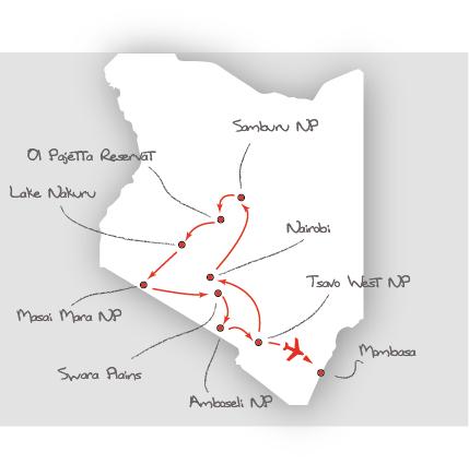 Tansania: Karte und Tourenverlauf Naturreise mit Gnuwanderung, Nashörnern und Schimpansen