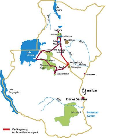 Tansania: Karte und Tourenverlauf Privatreise Massai Mara, Serengeti und Sansibar