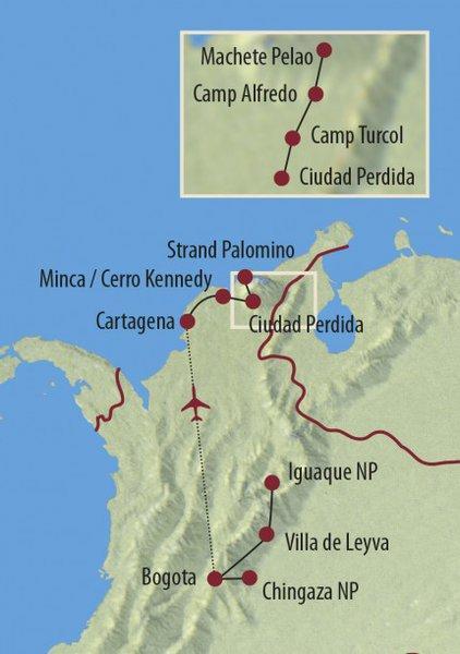 Peru: Karte und Tourenverlauf Trekkingreise