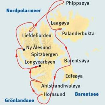 Island: Karte und Tourenverlauf Expeditions-Kreuzfahrt rund um Spitzbergen