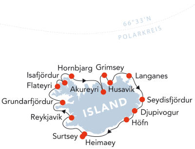 Spitzbergen: Karte und Tourenverlauf Expeditions-Kreuzfahrt rund um Island