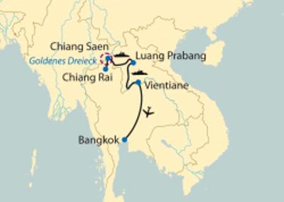 Laos: Karte und Tourenverlauf Flusskreuzfahrt Mekong – Goldenes Dreieck bis Vientiane