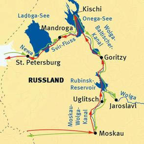 Norwegen: Karte und Tourenverlauf Wolga-Kreuzfahrt Moskau-Karelien-St. Petersburg