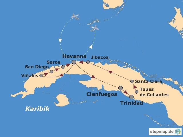 Kuba: Karte und Tourenverlauf Aktivreise
