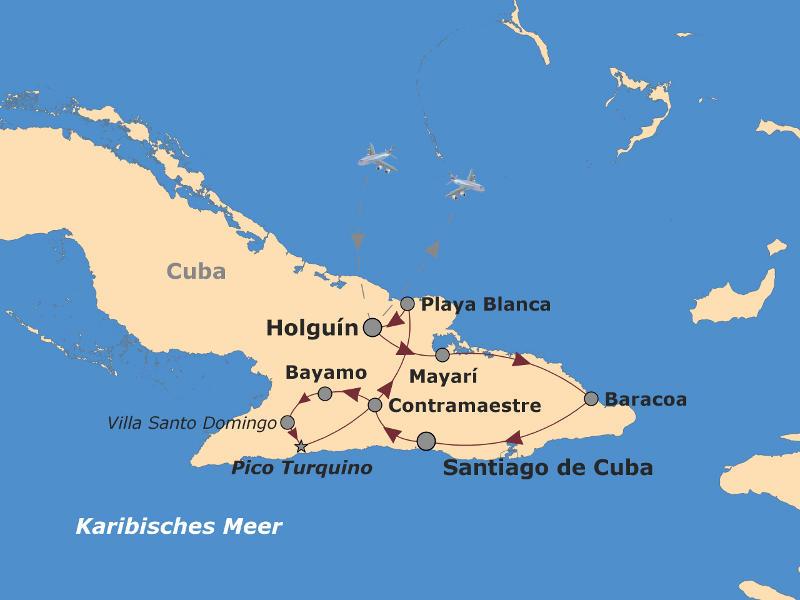 Brasilien: Karte und Tourenverlauf Aktivreise im unbekannten Osten