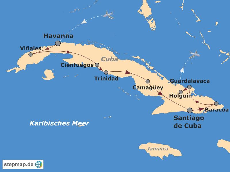 Kuba: Karte und Tourenverlauf Rundreise Kuba mit Strandurlaub
