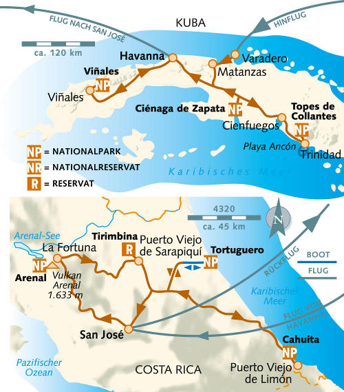 Kolumbien: Karte und Tourenverlauf Aktivreise Kuba & Costa Rica