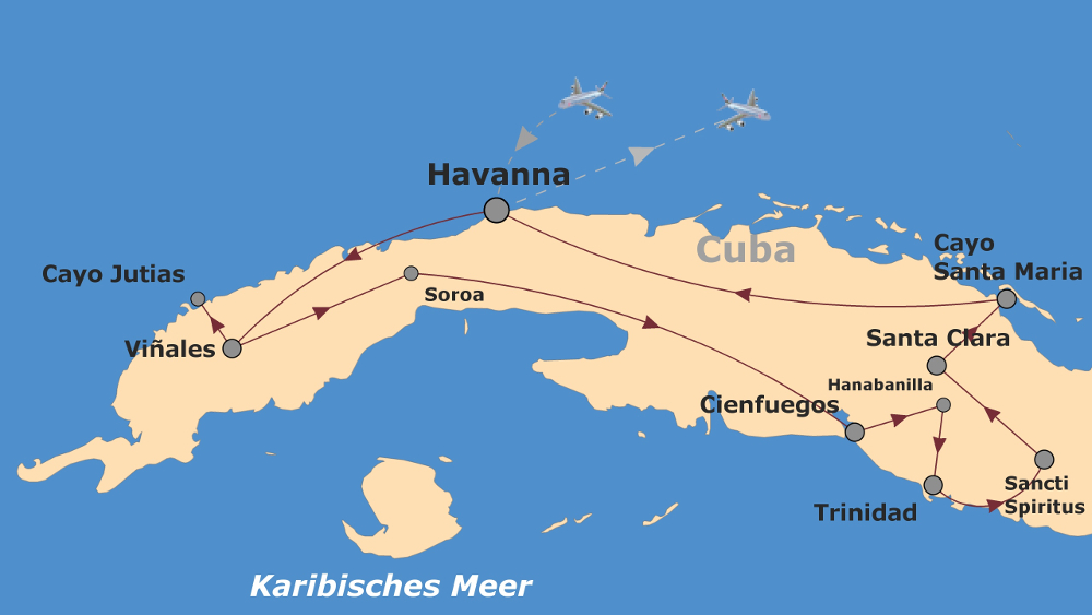 Kuba: Karte und Tourenverlauf E-Bike-Reise durch Kuba