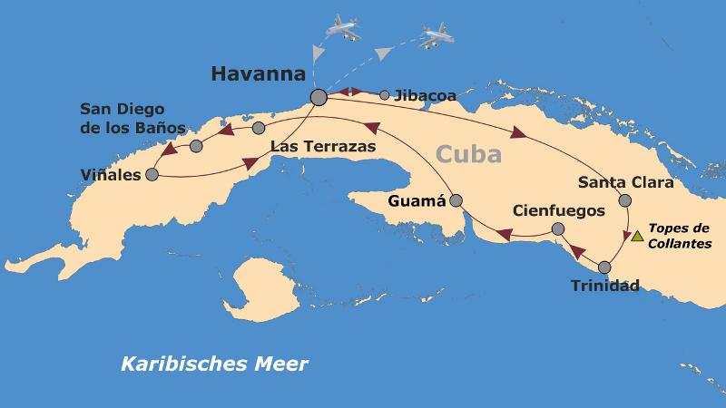 Kuba: Karte und Tourenverlauf Fahrradreise