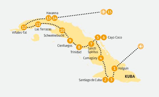 Kuba: Karte und Tourenverlauf Kulturreise durch das historische Kuba