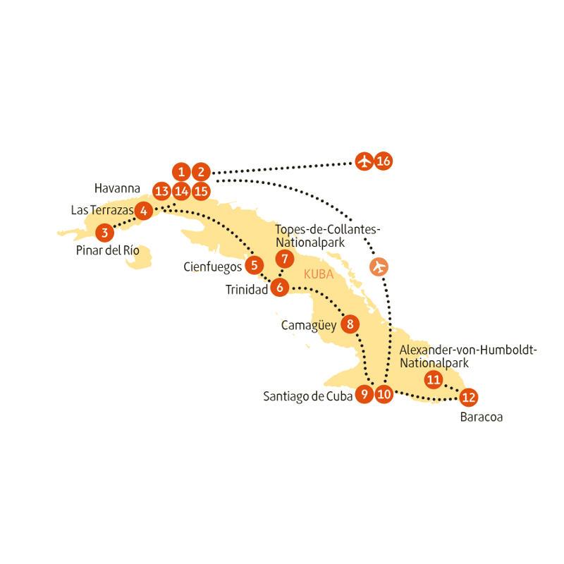 Kuba: Karte und Tourenverlauf Kuba Intensiv-Reise von West nach Ost