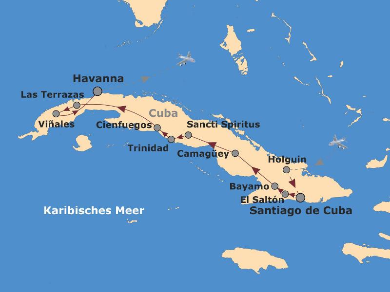 Kuba: Karte und Tourenverlauf Kulturrundreise