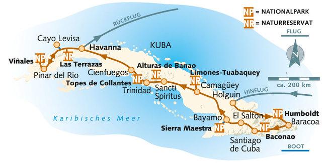 : Karte und Tourenverlauf Kuba Natur-Rundreise