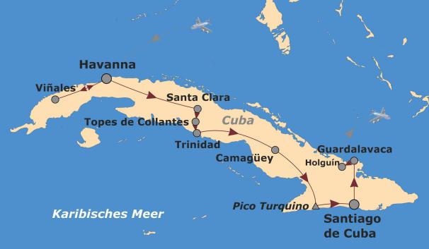 Kolumbien: Karte und Tourenverlauf Trekkingreise Kuba