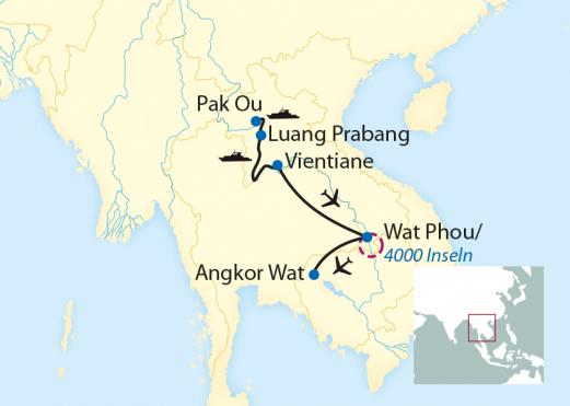 Kambodscha: Karte und Tourenverlauf Flusskreuzfahrt auf dem Mekong