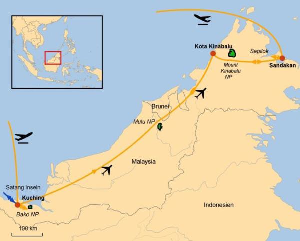 Indonesien: Karte und Tourenverlauf Orang Utans – Dschungel-Wanderungen – Fluss-Safaris