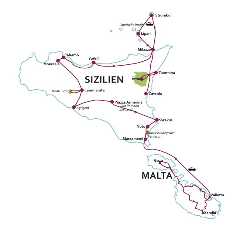 Italien: Karte und Tourenverlauf Wandern und Kultur auf Malta und Sizilien