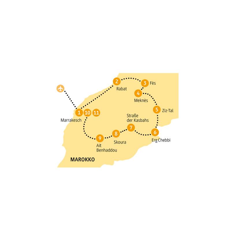 Marokko: Karte und Tourenverlauf Marokko-Rundreise Atlas
