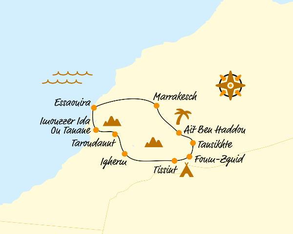 Südafrika: Karte und Tourenverlauf E-Bike-Tour Marokko
