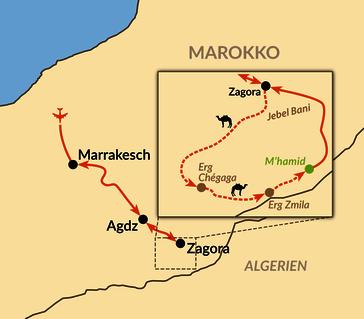 Marokko: Karte und Tourenverlauf Kameltrekking in der Sahara