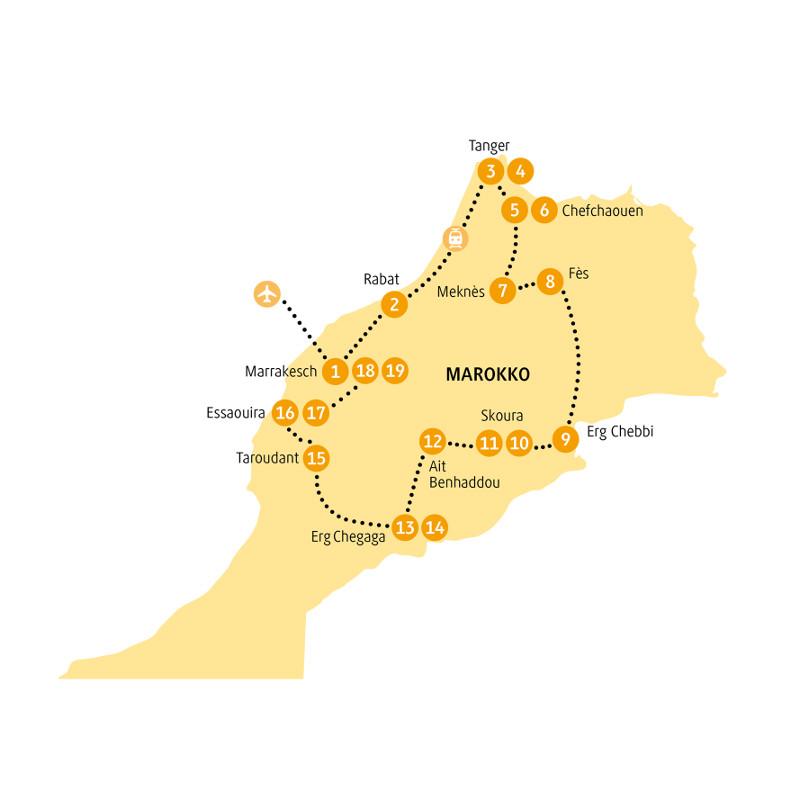 Marokko: Karte und Tourenverlauf Kulturreise