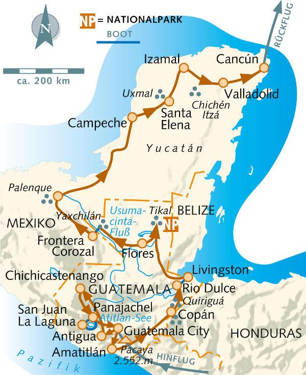 Mexiko: Karte und Tourenverlauf Route der Maya