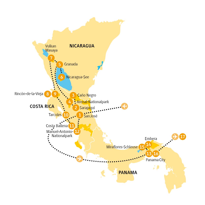 Costa Rica: Karte und Tourenverlauf 3-Länder-Rundreise durch Mittelamerika