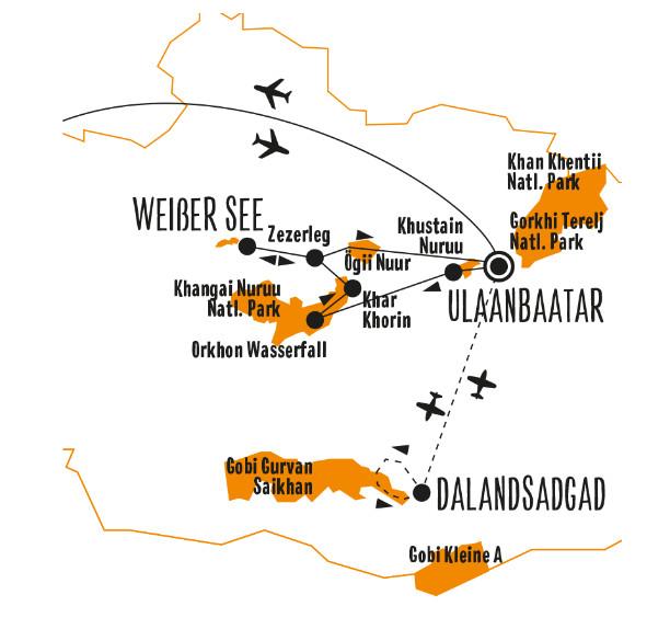 Russland (Asien): Karte und Tourenverlauf Gobi – Bogd Khan