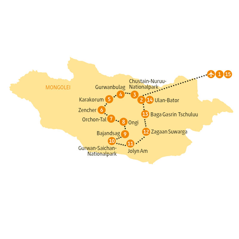 : Karte und Tourenverlauf Kultur- und Natur-Rundreise Mongolei