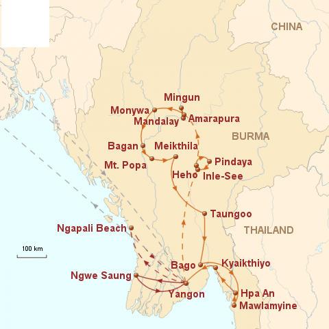 Laos: Karte und Tourenverlauf Aktivreise Myanmar (lange Variante)