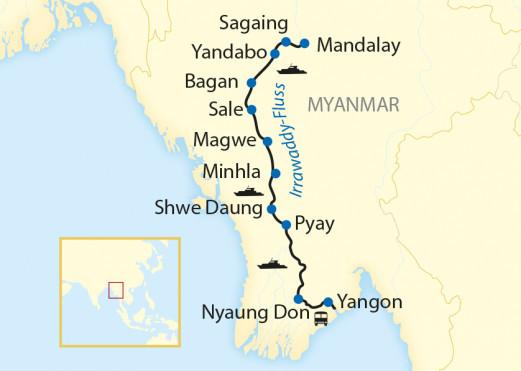 Myanmar: Karte und Tourenverlauf Magisches Myanmar mit Flusskreuzfahrt