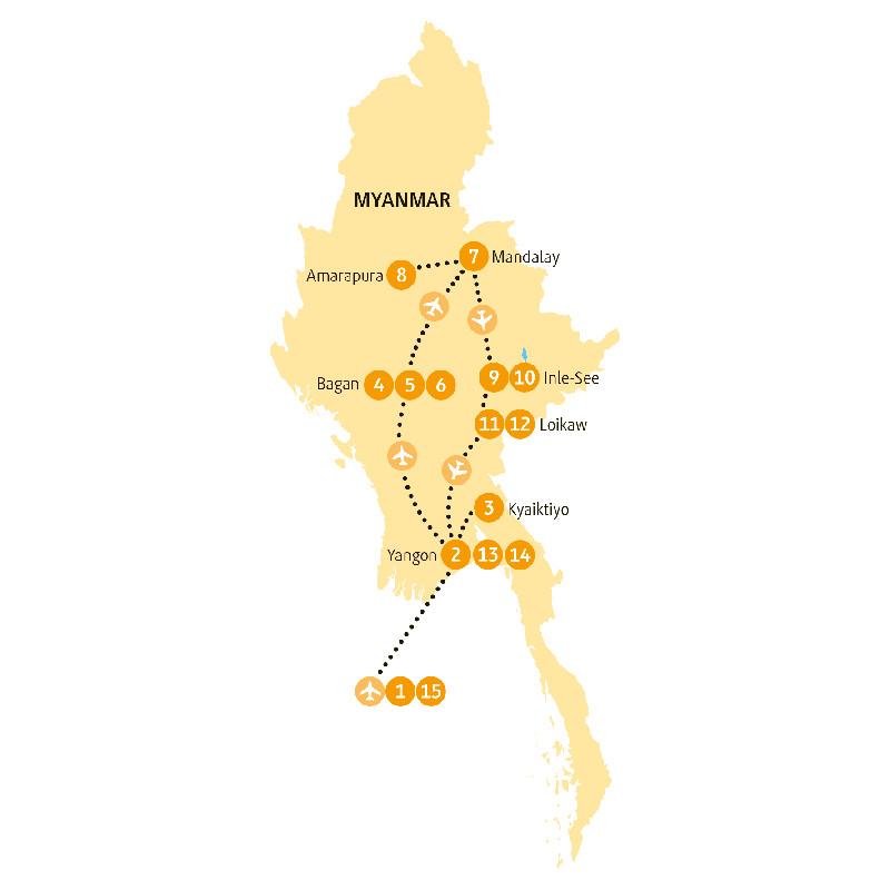 Laos: Karte und Tourenverlauf Goldener Felsen, Mandalay und Bagan
