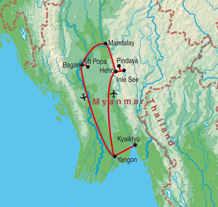 Laos: Karte und Tourenverlauf Rundreise, Kultur und Traumstrände am Golf von Bengalen