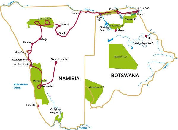 Botswana: Karte und Tourenverlauf Kombinationsreise Namibia-Botswana-Caprivi