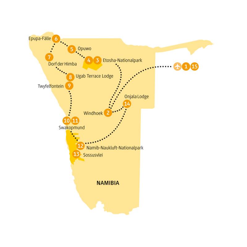 Botswana: Karte und Tourenverlauf Sossusvlei, Epupa-Fälle und Etosha-Nationalpark
