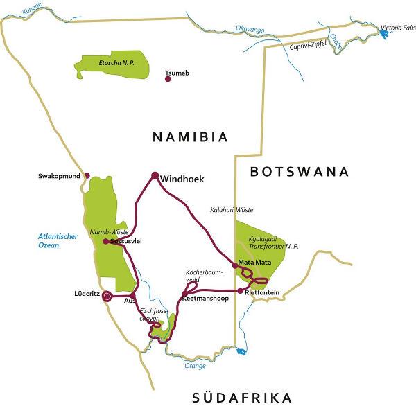 Namibia: Karte und Tourenverlauf Kalahari – Fish River Canyon – Sossusvlei