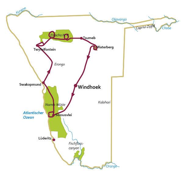 Namibia: Karte und Tourenverlauf Kultur- und Naturreise Nord-Namibia