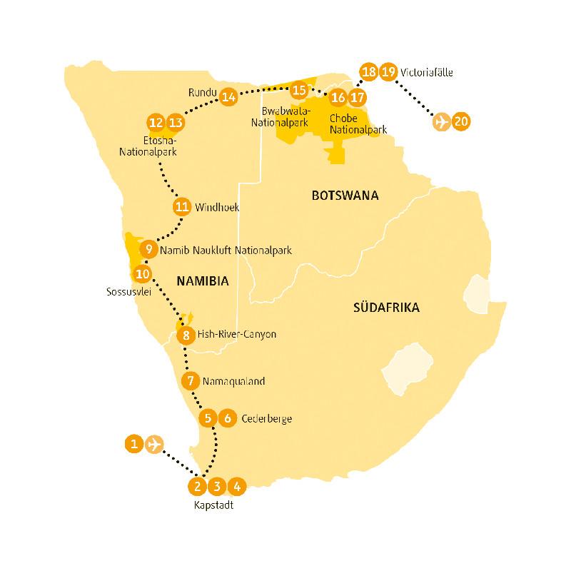Namibia: Karte und Tourenverlauf Rundreise Namibia & westliches Südafrika