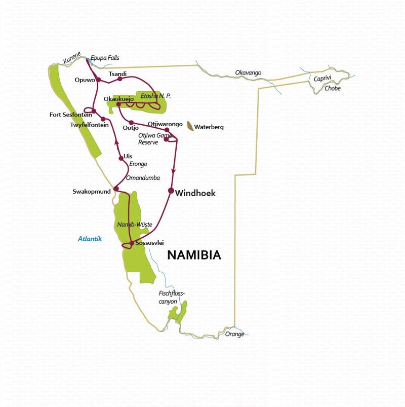 Namibia: Karte und Tourenverlauf Wüstenreise Namibia