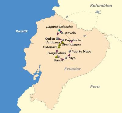 Kolumbien: Karte und Tourenverlauf Trekking Cotopaxi und Fahrradtour zum Amazonas