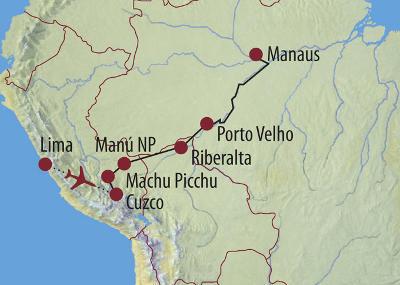 Brasilien: Karte und Tourenverlauf Amazonas-Naturreise