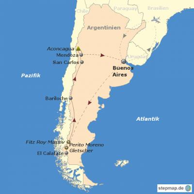 Argentinien: Karte und Tourenverlauf Aktivreise mit Trekking und Fahrradtouren