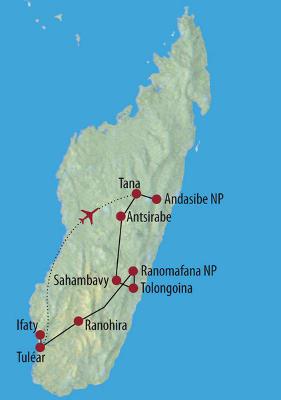 Madagaskar: Karte und Tourenverlauf Baobabs, Lemuren, Chamäleons und Regenwald