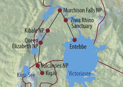 Kenia: Karte und Tourenverlauf Berggorillas und Vulkane