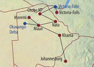 Botswana: Karte und Tourenverlauf Safari im Okavango-Delta und Chobe Nationalpark