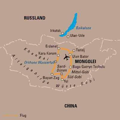 Russland (Asien): Karte und Tourenverlauf Erlebnisreise Wüste Gobi und Kara-Korum