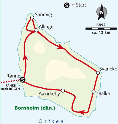 Kuba: Karte und Tourenverlauf Individuelle Fahrradreise auf Bornholm