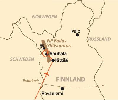 Finnland: Karte und Tourenverlauf Mit Huskies durch Lappland